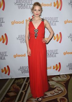 Dianna Agron Evening Dress - Dianna went bold in this floor length red gown. The black and white graphic details at the bust and shoulders add a very unique touch.