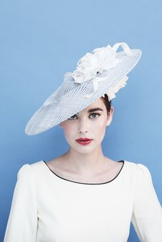 Gina Foster 'Kimberley' £295 AW13; A jaunty hat with one flower on the top with straw ribbon detail and two silk flowers on the underside.