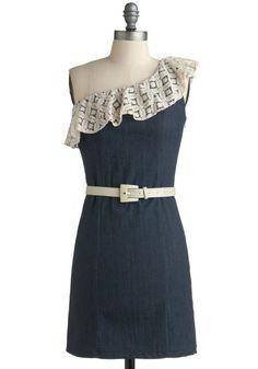 cute short one shoulder lace and denim blue dress via modcloth.com