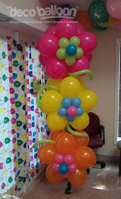 Crafts / Flower Birthday Balloons- got to remember this one for future birthday parties! Easy, cute decor!