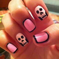 Halloween pink & black nails