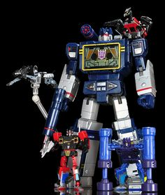 Transformers Masterpiece MP-13 Soundwave and Condor (Laserbeak), MP-15 Rumble and Jaguar (Ravage) and MP-16 Buzzsaw and Frenzy