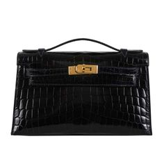 Hermes Kelly Pochette Bleu Marine Blue Black Crocodile Gold Ghw | MALLERIES