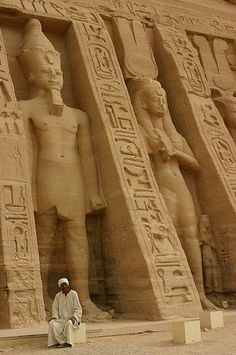 """Temple guardian before the larger than life Ramses"", Abu Simbel, Aswan, Egypt. Ancient Ruins, Ancient Egypt, Ancient History, Art History, European History, Ancient Artifacts, Ancient Greece, American History, Art Ancien"