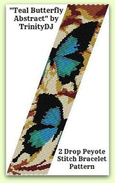 BPAN021 Teal Butterfly Abstract 2 Drop Peyote Stitch by TrinityDJ, $8.50