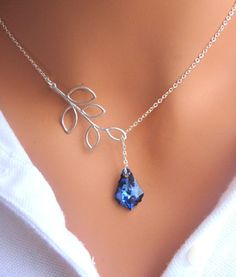 Bermuda Blue and Branch lariat necklace in Sterling Silver. Bridesmaids Gift. Bridal. Wedding.