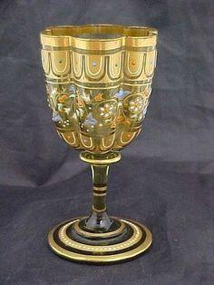 C 1890 Moser Style Bohemian Floral Enamel Wine Glass.