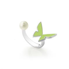 Olive papillon ring by Monquer. Les papillons collection 2015