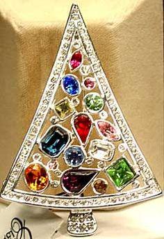 Past and Present Jewelry - Eisenberg Ice Page 2 - Eisenberg Triangular Tree w Multi Colored Rhinestones