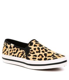 03cb69c7d087 keds x kate spade new york Double Decker Leopard Printed Calf Hair Pony  Sneakers
