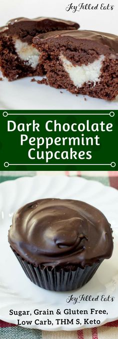 Dark Chocolate Peppermint Cupcakes - Low Carb, Grain Gluten Sugar Free, Keto, THM S - The dark chocolate and peppermint combination is always a hit and these Dark Chocolate Peppermint Cupcakes hit it out of the park. With rich chocolate cake, peppermint buttercream, and a smooth ganache icing they are simply amazing.