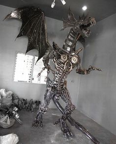 Giant steampunk dragon made from recycled auto parts  #Automotive, #Recycled, #Sculpture