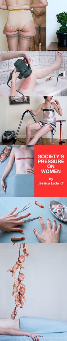 """This incredible series of photographs features ""morbid depictions of common beauty rituals"" of women. Created by artist Jessica Ledwich, each photo is just as bizarre as the next, showing just what women have gone through in their beauty practices that are quite ""monstrous"". Ledwich says her project explores the fact that throughout ""history, the bodies of women have been represented as a threatening form of sexuality""."""