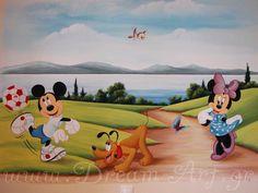 Ζωγραφική παιδικού δωματίου ο Mickey Mouse Ολυμπιακός