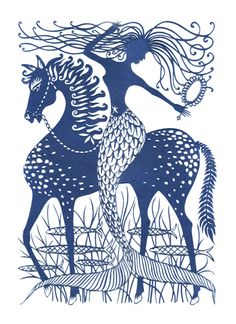 Sea Horse 47cmx62cm papercut by Ian Penney