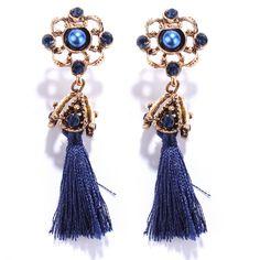 Pair of Vintage Rhinestone Embellished Tassel Earrings #shoes, #jewelry, #women, #men, #hats, #watches, #belts
