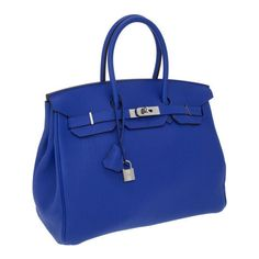 Hermes 35cm Electric Blue Togo Leather Birkin Bag with Pal found on Polyvore. What do I need to do to own this bag? #sephora #colorwash #sephoracolorwash