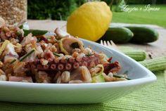 L' insalata di farro con polipo e zucchine è un appetitoso piatto unico che può essere consumato sia tiepido che freddo. Perfetta per un pin nic fuori porta