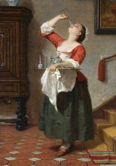 The Maid, Wilhelm August Lebrecht Amberg Ha! A rebel maid 18th Century Clothing, 18th Century Fashion, 19th Century, Tableaux Vivants, Art Ancien, Wine Art, Renaissance, In Vino Veritas, Fine Art