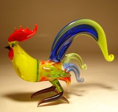 "Blown Glass ""Murano"" Art Figurine Bird Fighter Yellow and Blue ROOSTER  -  this seller has beautifully colored roosters.       lj"