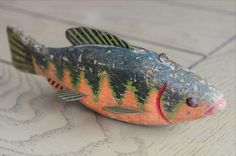 """Vintage Hand Painted Wooden """"Ice Fishing"""" Decoy Carved Wood Folk Art"""