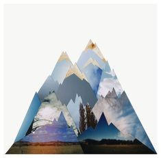 """The Mountains Wait."" A collage piece created from photographs with mountains in them. By Liesl Pfeffer on Etsy."
