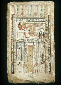 Funerary Stela of the Royal Sealer Neferiu.  Period:     Old Kingdom–First Intermediate Period. Dynasty:     Dynasty 8–11. Date:     ca. 2150–2010 B.C. Geography:     Country of Origin Egypt, Northern Upper Egypt, Dendera (Dandara; Tentyra), probably.