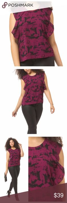 Sleeveless Print Top Dark wine red with black print dressy tank with flattering flutter accents. Single button at back of neckline. Matte polyester with a little stretch. Fits true to size and in excellent condition. Carmakoma Tops Tank Tops