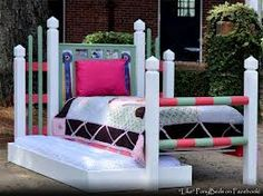 Beds made from jump standards, etc. They are adorable! Would love to have for my (way in the)future little girl's carousel horse room. Horse Themed Bedrooms, Bedroom Themes, Horse Bedrooms, Bedroom Ideas, Dream Bedroom, Girls Bedroom, Childs Bedroom, Horse Bedding, Equestrian Decor