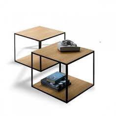 Metal frame cube side coffee table 'Cube', wooden and metal shape.  Ultramodern, contemporary design.