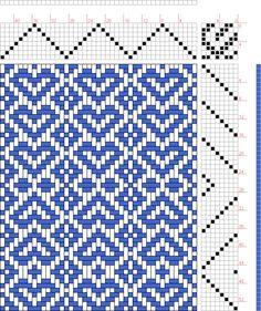 Hand Weaving Draft: Hearts, Judie Eatough, 8S, 8T - Handweaving.net Hand Weaving and Draft Archive
