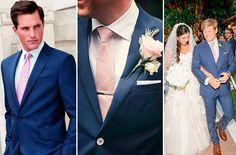 O primeiro noivo de terno azul que me lembro de ter saído aqui no nosso site foi o Louis Leeman(nr.1 na foto abaixo), que se casou com Erica Pelosini em C