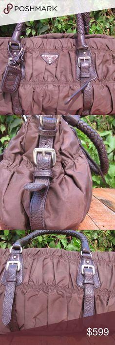 EUC Authentic Prada brown satchel Great Prada Tessuto Gaufre medium size satchel. Brown leather and nylon. Prada Bags Satchels