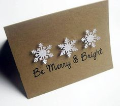 Christmas Card Snowflake Be Merry Set of 8. $12.00, via Etsy.
