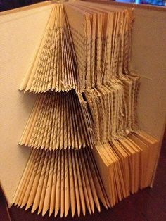 Instructions: Fold Christmas tree in the pages of a book Old Book Crafts, Book Page Crafts, Book Page Art, Christmas Crafts, Paper Crafts, Folded Book Art, Paper Book, Book Christmas Tree, Sheet Music Crafts