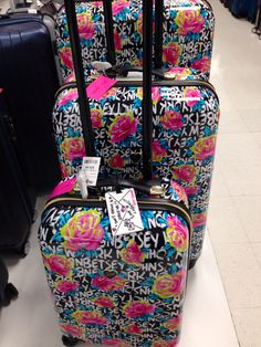 Betsey Johnson floral graffiti hard cover luggage set @ Marshalls