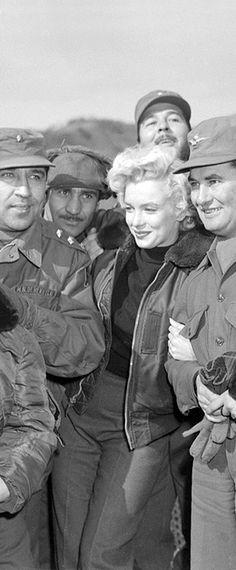 Marilyn visiting troops in Korea, February 1954.