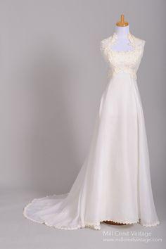 1960 Lace Applique Vintage Wedding Gown : Mill Crest Vintage