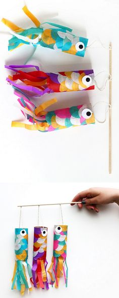 DIY Wind Sock Carp Tutorial from Squirrelly Minds.This is a super easy kids craft using toilet paper rolls and tissue paper to make DIY wind sock carps. Autumn Crafts Kids, Fish Crafts Preschool, Super Easy Crafts For Kids, Craft Kids, Paper Crafts For Kids, Easy Arts And Crafts, Art N Craft, Summer Crafts, Toddler Crafts