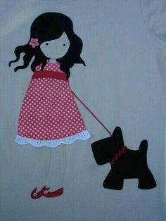 Girl with dog appliqué