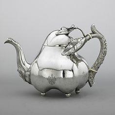 Russian - 1894 - Joseph Nordberg ~ For A Spot of Tea Vintage Silver, Antique Silver, Teapots Unique, Silver Teapot, Bronze, Tea Pot Set, Teapots And Cups, Tea Time, Vases