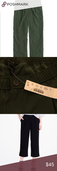 """J Crew Drapey Patio Trouser NWT Lightweight and perfect for summer.  J Crew's Drapey Patio Trouser in Safari Green.  Cropped inseam at 21"""" and looks so cute with a heel. Size 0 NWT *Last photo is stock photo to show fit... These are green. J. Crew Pants Ankle & Cropped"""
