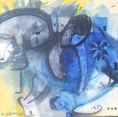 Passeando pelo jardim da amizade, pintura de João Timane.  Tamanho:  12/12 cm  Ano: 2015
