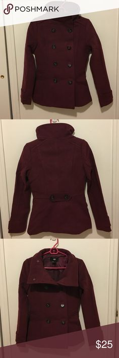 H&M double breasted maroon peacoat NWOT H&M double breasted peacoat in Maroon. Had funnel neck design and can be flipped up or put down for different looks. Very heavy duty for the cold winter season. H&M Jackets & Coats Pea Coats