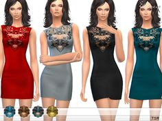 Dress with floral lace applique. 8 different colors. Custom mesh by me.  Found in TSR Category 'Sims 4 Female Everyday'