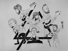 Linkin Park Cartoon #rapidograph #music#rock #numetal #linkinpark