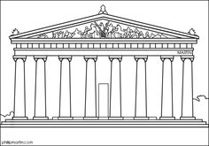 The Greek Parthenon Coloring sheet! Neoclassical Architecture, Revival Architecture, Gothic Architecture, Parthenon Greece, Greece Drawing, Greece Culture, Art Through The Ages, Ancient Greek Architecture, Roman Art
