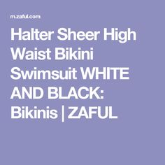 Halter Sheer High Waist Bikini Swimsuit WHITE AND BLACK: Bikinis | ZAFUL
