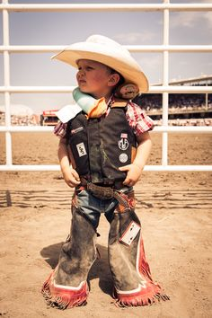 As seen at the Calgary Stampede: It looks like this little cowboy is rough, tough and ready to roll! [Twitter / StetsonUSA]