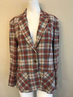 24259795b Pendleton Ladies Medium Orange Gray Plaid Vintage 1950s Virgin Wool Lined  Blazer #Pendleton #SuitJacketBlazer